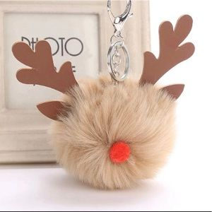Accessories - Reindeer Deer Pom Pom Handbag Purse Keychain